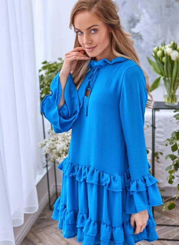Sukienka Lola falbanka chabrowa