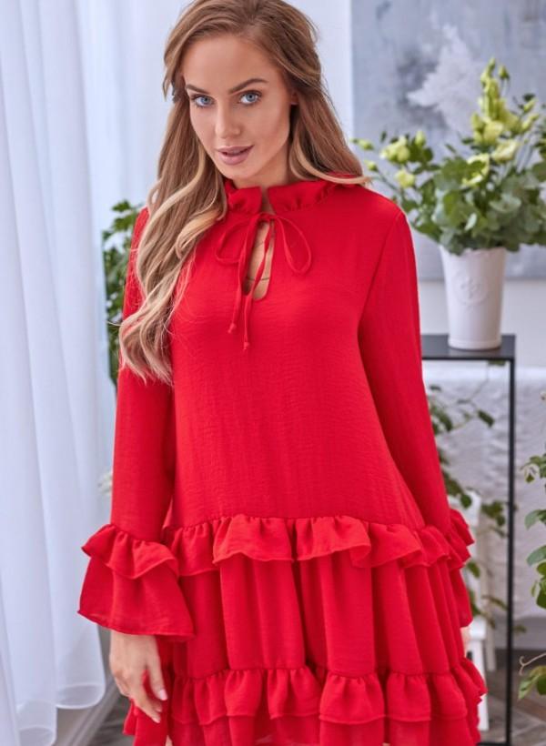 Sukienka Lola falbanka czerwona