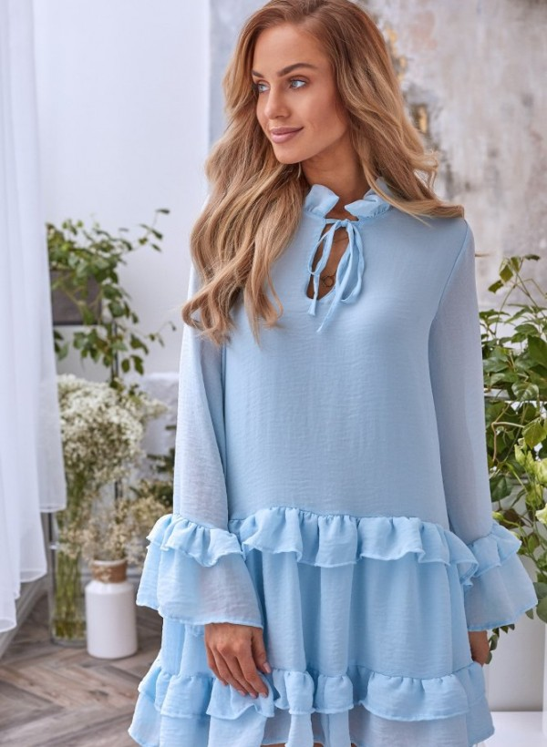 Sukienka Lola falbanka błękit