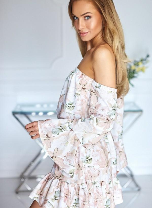 Sukienka Hiszpanka kwiaty beż 1