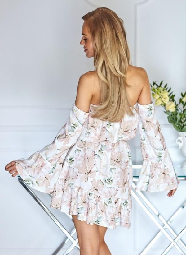 Sukienka Hiszpanka kwiaty beż 2