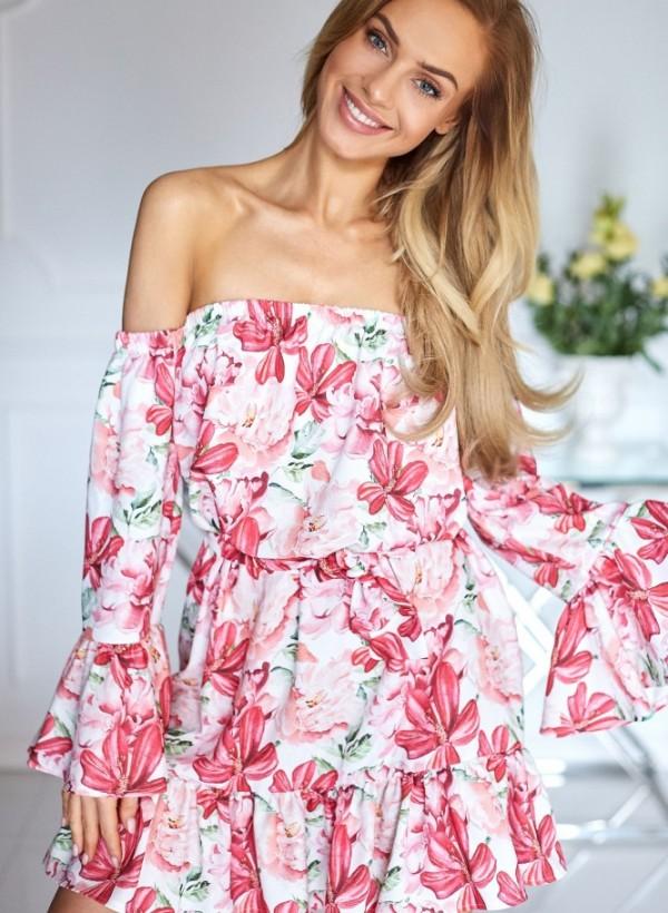Sukienka Hiszpanka kwiaty ciemny róż