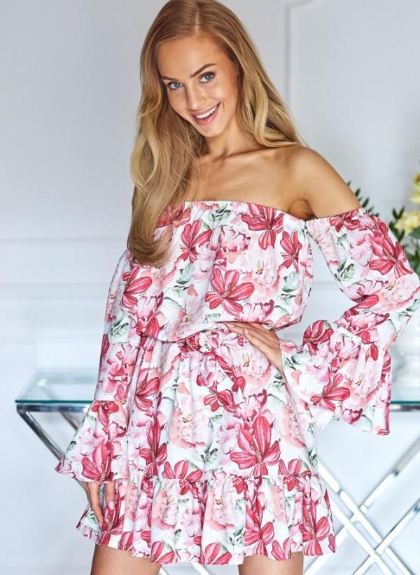Sukienka Hiszpanka kwiaty ciemny róż 1