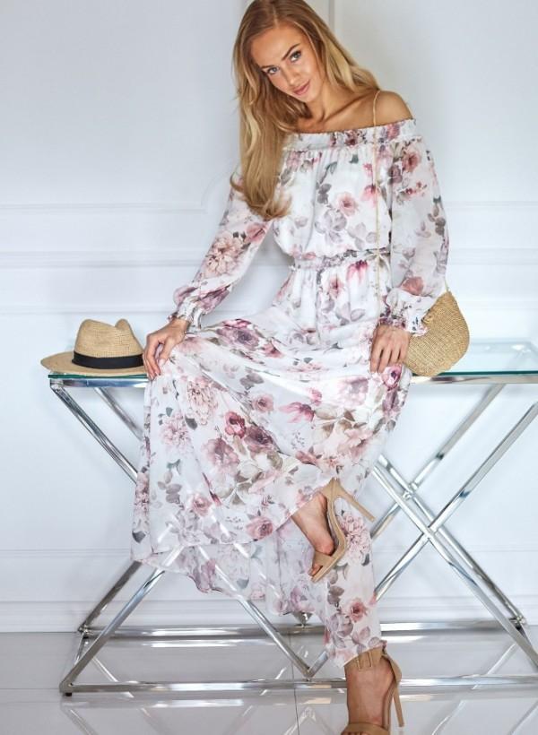 Sukienka Laurel kwiaty biel