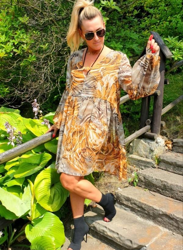 Sukienka Flora beżowa