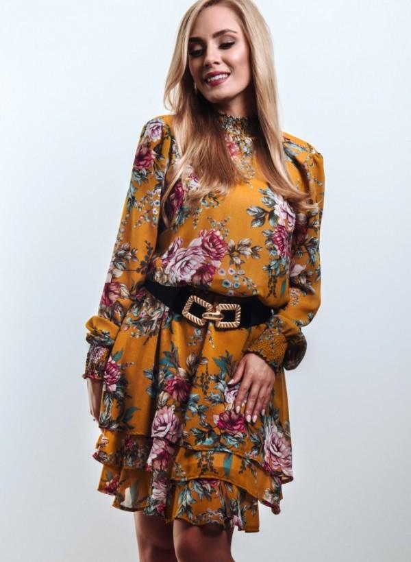 Sukienka Flower Miodowa