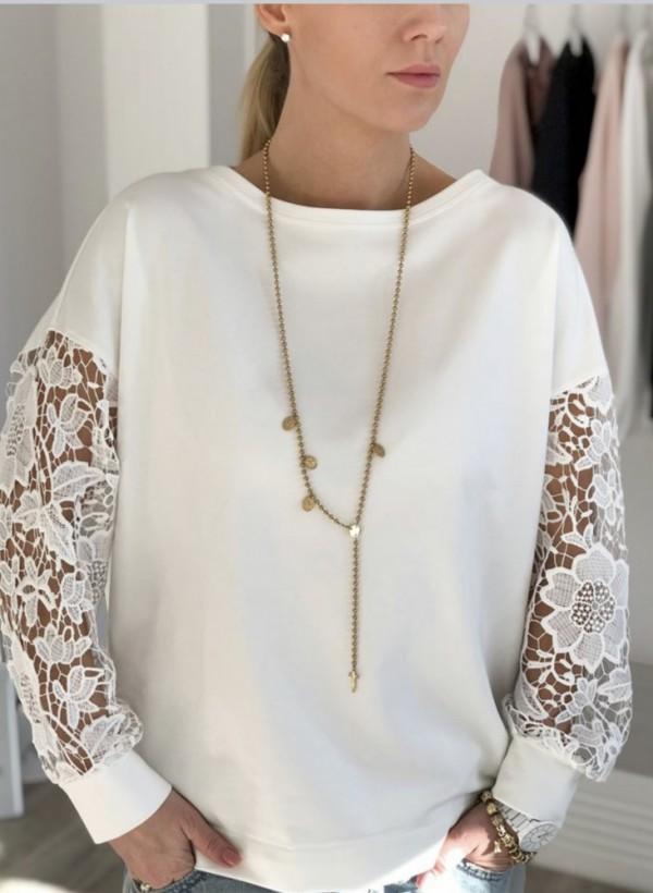 Bluza z gipiurą ecru