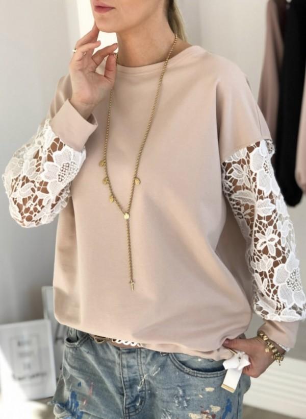Bluza z gipiurą beżowa
