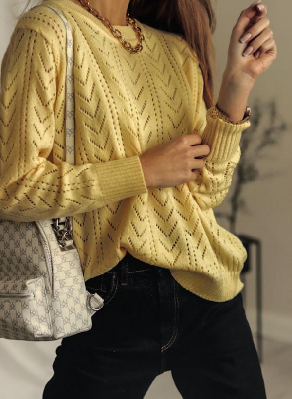 Ażurkowy Sweterek Żółty